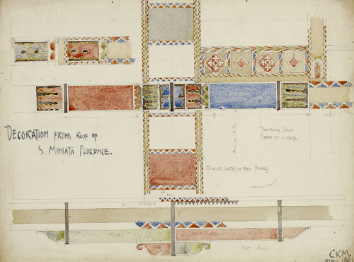 Florence, San Miniato, Studies of Decorative Ceiling Panels, 1891. by Charles Rennie Mackintosh