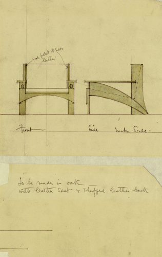 Design For Armchair In Oak, Shown In Front And Side Elevation, 1905 by Charles Rennie Mackintosh