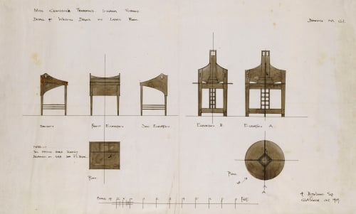 Designs For Writing Desks Shown In Front And Side Elevation, 1909, For The Ingram Street Tea Rooms by Charles Rennie Mackintosh