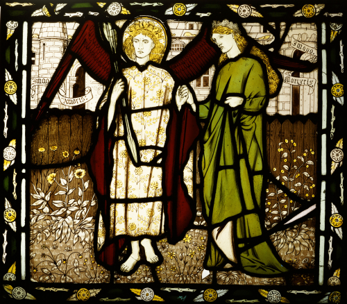Amor And Alcestis, A Morris & Co Stained Glass Panel, 1864 by Sir Edward Burne-Jones