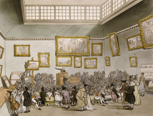 Colored Aquatint Of Christies Auction Room, From Microcosm Of London by Christie's Images