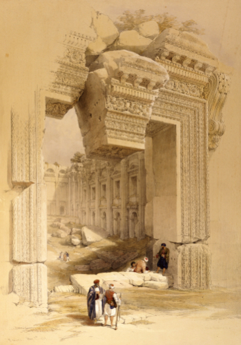 The Doorway Of The Temple Of Bacchus - Baalbec, 7th May 1839 by David Roberts