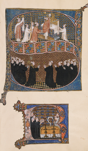Illuminated Initial 'S' Showing Bishops And Monks At Worship by Christie's Images