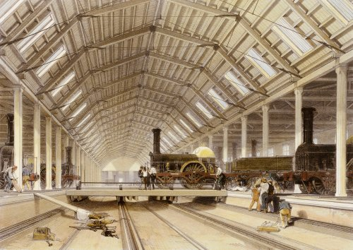 Engine House, Swindon. The History And Description Of The Great Western Railway. London, 1846. by John C. Bourne