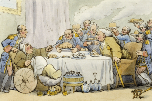 The Dinner. From 'The Comforts Of Bath' by Thomas Rowlandson
