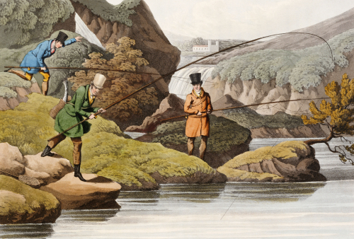 Salmon Fishing. A Hand Coloured Aquatint From 'The National Sports Of Great Britain', 1823 by Henry Alken