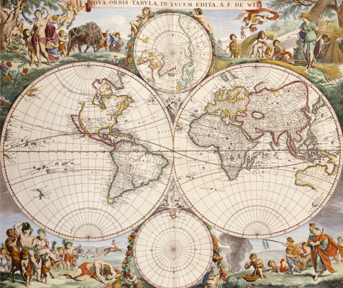 Map Of The World, Amsterdam, C.1680 by Frederick de Wit