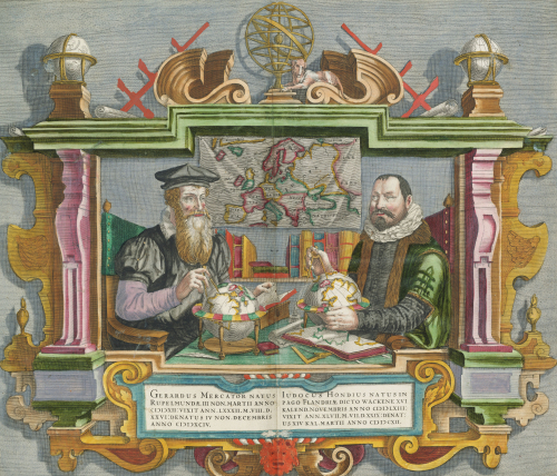 Cartographers Gerard Mercator and Jodocus Hondius, 1636. by Christie's Images
