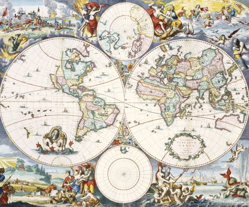 Wall-Map Of The World, C. 1696 by Cornelis Danckerts