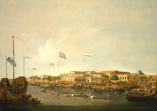 The Hongs At Canton From The South East, With A Regatta On The Pearl River by Thomas Daniell