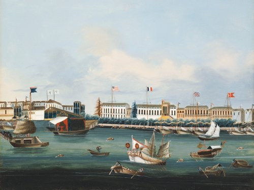View Of The Waterfront At Canton With American, Dutch And British Factories, 1850 by Christie's Images