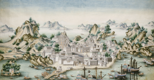 View Of Macao, Looking East With European Figures And Shipping In The Foreground by Christie's Images