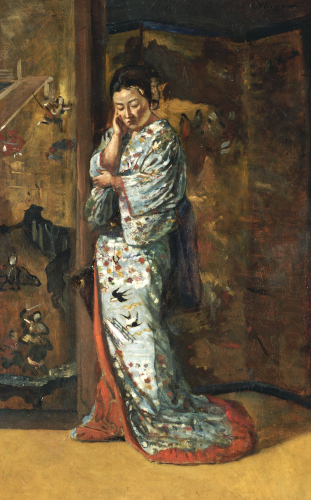A Japanese Woman In An Interior by Charles Wirgman