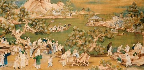 A Lake Scene With Figures Celebrating A Festival by Christie's Images