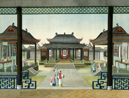 The Courtyard Of A Merchant's House In Canton With Figures by Christie's Images