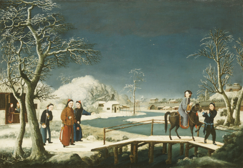 Winter: A Frozen River Landscape With A Lady On A Horse Crossing A Bridge by Christie's Images