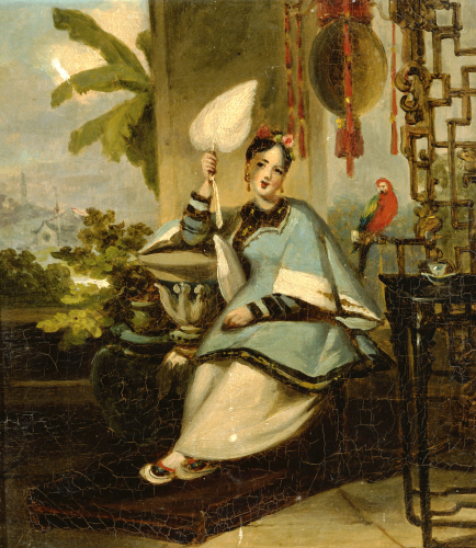 Portrait Of A Girl, Seated Small Full Length In A Blue Robe by George Chinnery