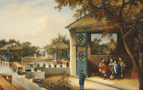 Chinese Ladies Playing Mahjong In The Pavilion Of A House by Christie's Images
