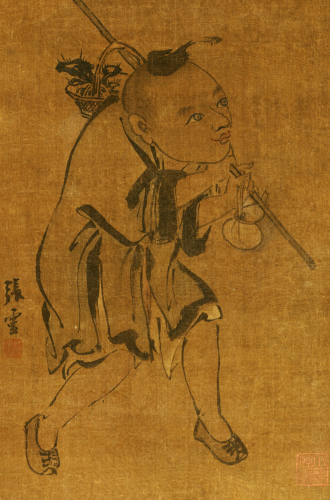 Child Gathering Lingzhi by Zhang Ling