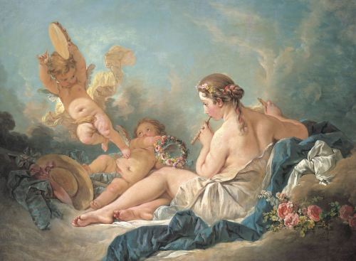 A Reclining Nymph Playing The Flute With Putti, Perhaps The Muse Euterpe, 1752 by Francois Boucher