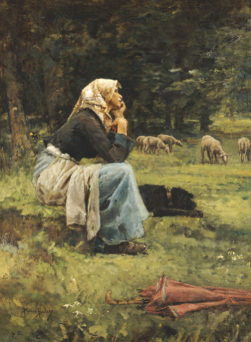 A Young Shepherdess by Pierre Billet