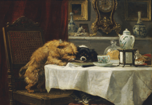 While Masters Away by Henriette Ronner-Knip