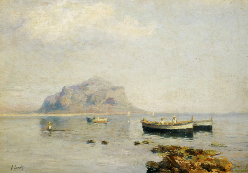 A Calm With Fishing Boats In The Bay Of Naples by Giuseppe Carelli