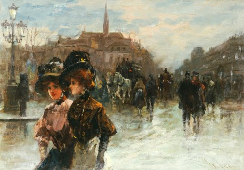 A Street Scene With Elegant Ladies, Paris by Max Lugi