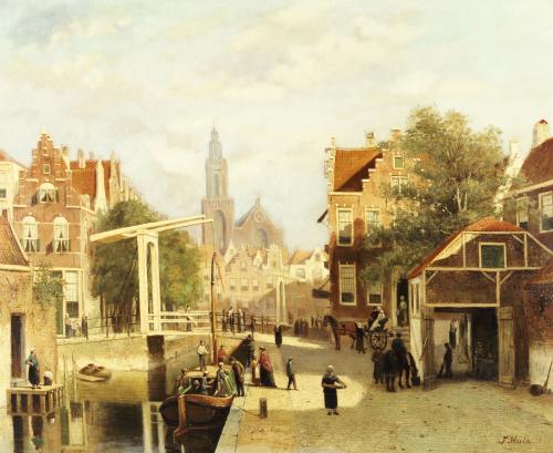 A Street Scene, Amsterdam by Johannes Frederick Hulk