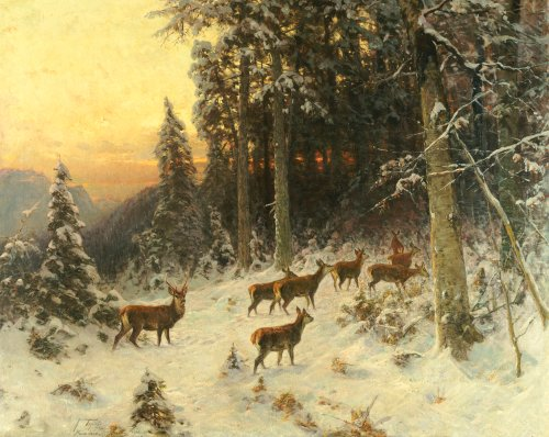 Deer In Winter Wooded Landscape, 1916 by Arthur Julius Thiele