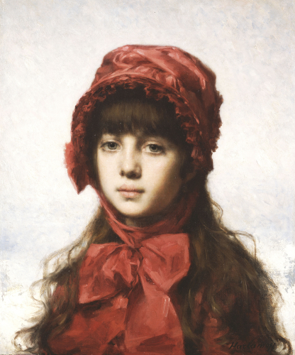 The Red Bonnet by Alexei Alexeiewitsch Harlamoff