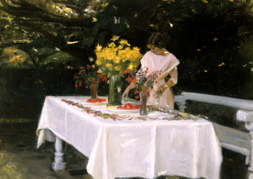 Preparing The Table by Michael Peter Ancher