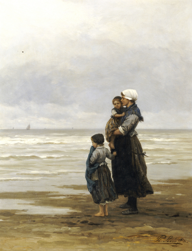 Waiting For The Boats, 1881 by Philippe Lodowyck Jacob Frederik Sadee