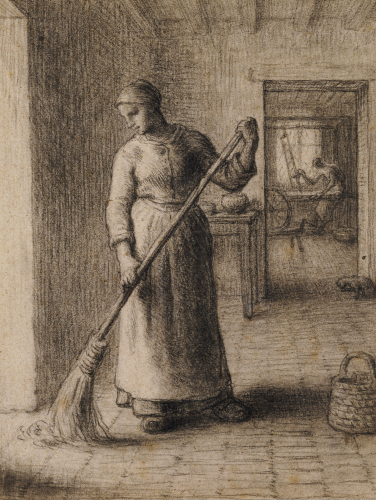Woman Sweeping Her Home by Jean Francois Millet