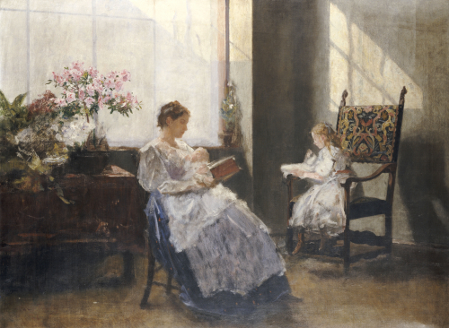Mrs Leopoldine Masarai With Her Daughters At The Artists Studio, 1896 by Hans Tichy