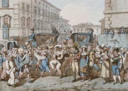 Carnevale A Roma, 1816 by Bartolomeo Pinelli