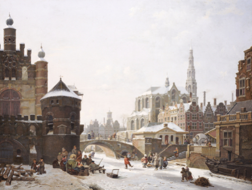 A Capriccio View Of A Town With Figures On A Frozen Canal by Jan Hendrik Verheyen