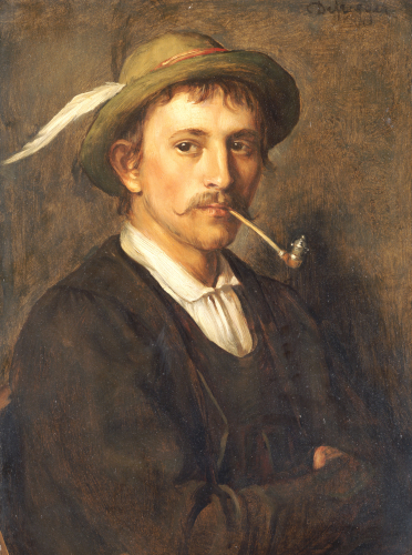 Peasant with pipe by Franz Von Defregger