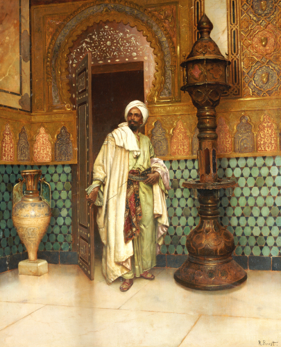 An Arab In A Palace Interior by Rudolf Ernst