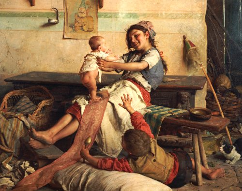 Playing With Baby by Gaetano Chierici