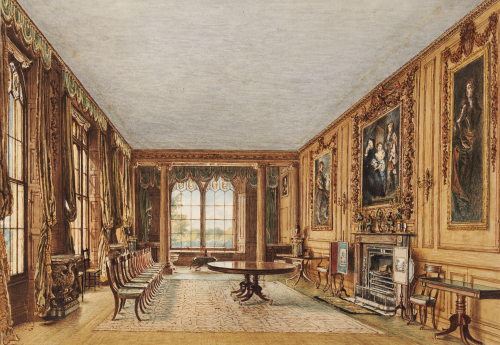 The Dining Room Of The Earl Of Essex At Cassiobury, 1821 by William Henry Hunt