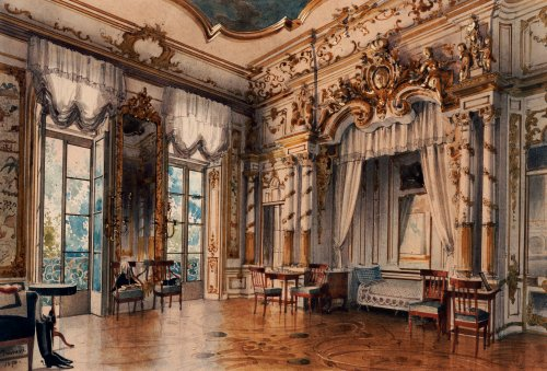 A Bedroom In The Tzar's Palace At Tsarskoe-Selo, St. Petersburg, 1870 by Luigi Premazzi