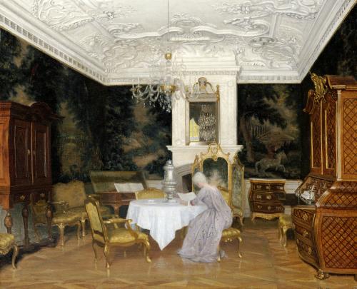 A Lady In An Interior, Fredensborg, 1896 by Adolf Heinrich Claus Hansen