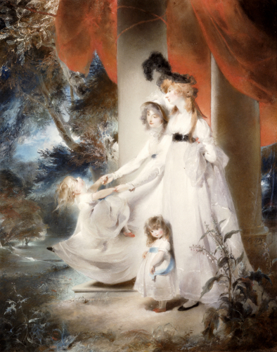 Portrait Of Mrs Ayscoghe Boucherett With Her Two Eldest Children, Emilia And Ayscoghe, 1794 by Sir Thomas Lawrence