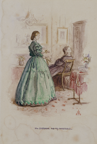 Mrs. Gresham And Miss Dunstable: An Illustration To Framley Parsonage, 1861 by Sir John Everett Millais
