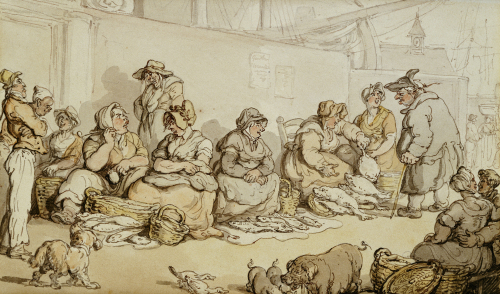 The Fish Market, Grimsby by Thomas Rowlandson