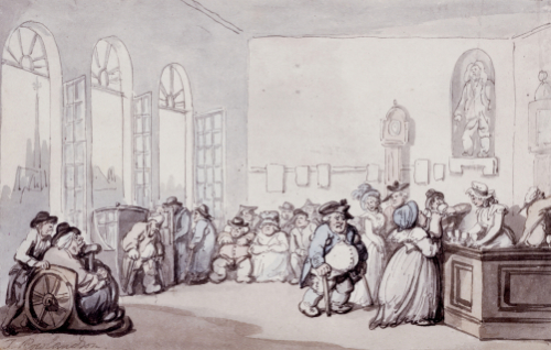 The Comforts Of Bath - The Pump Room by Thomas Rowlandson