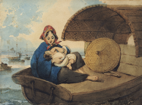 A Tanka Woman With Her Child On A Boat by George Chinnery