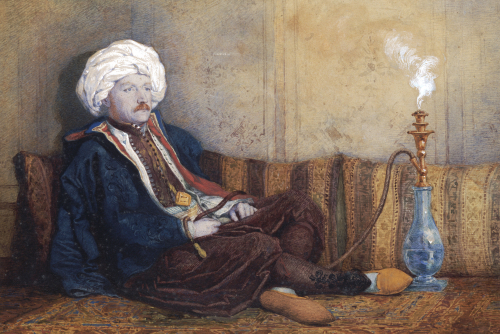 Portrait Of Sir Thomas Phillips In Eastern Costume, Reclining With A Hookah by Richard Dadd