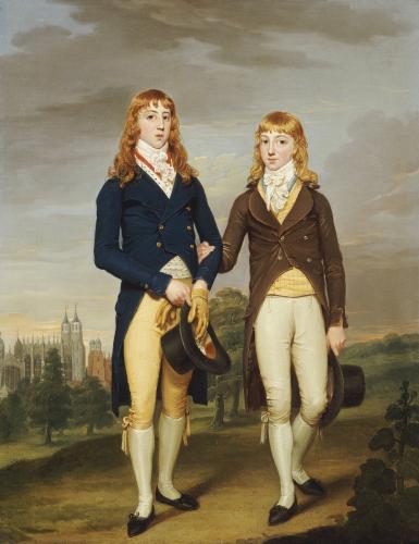 Portrait Of Two Eton Schoolboys, Eton Chapel Beyond by Francis Alleyne